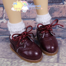 "Oxford Stitch Shoes Burgundy Wine for MSD BJD Dollfie Kaye Wiggs 16"" Sasha Dolls"