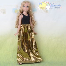 Doll Clothes Black Sleeveless/Gold Dress For Tyler Ellowyne Wilde Unoa MSD BJD Dolls