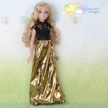 Doll Clothes Sequin Black Turtleneck/Gold Dress for Tyler Ellowyne Wilde MSD BJD