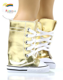 "Doll Shoes Knee High Lace-Up Sneakers Boots Leather Gold for 18"" American Girl"