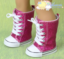 "Doll Shoes Knee High Lace-Up Sneakers Boots Glitter Fuchsia for 18"" American Girl"