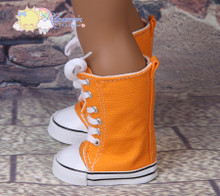 "Doll Shoes Knee High Lace-Up Sneakers Boots Orange for 18"" American Girl"