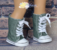 "Doll Shoes Knee High Lace-Up Sneakers Boots Olive Green Washed Denim for 18"" American Girl"