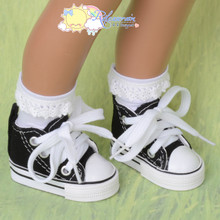 "Doll Shoes Ankle Cons Sneakers Boots Black for MSD BJD Kaye Wiggs 16"" Sasha"