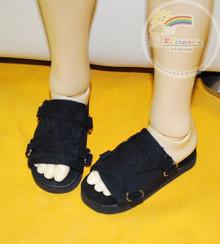 Doll Shoes Black Strap Black Slippers Sandals for Rainy Girl, SD13 Boy BJD Dollfie Dolls