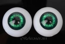 Doll Acrylic Eyes Half Round Sparkling Green #RS04 20mm for BJD Dollfie, Reborn Dolls