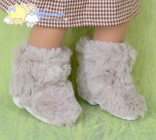Doll Shoes Fluffy Furry Fuzzy Faux Fur Boots Shaggy Oatmeal for Sasha Baby Doll