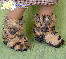 Doll Shoes Fluffy Furry Fuzzy Faux Fur Boots Shaggy Leopard for Sasha Baby Doll