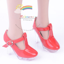 """Clear Stiletto T-Strap Shoes Patent Red for 22"""" Tonner American Model doll"""