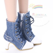 """Ankle Sneakers Heel Shoes Boots Denim Blue for 22"""" Tonner American Model Dolls"""