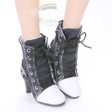 """Ankle Sneakers Heel Shoes Boots Black for 22"""" Tonner American Model Dolls"""