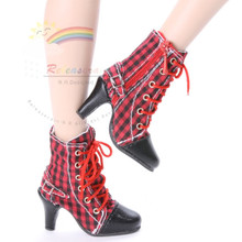 """Ankle Sneakers Heel Shoes Boots Red/Black Checker for 22"""" Tonner American Model Dolls"""