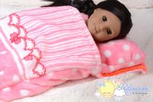"Pink Sweet Fleece Sleeping Bag #BG02 for 18"" American Girl/My Twinn/Gotz doll"