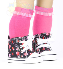"Cons Canvas Sneakers Shoes Boots Mushroom Firework Black for 18"" American Girl Dolls"