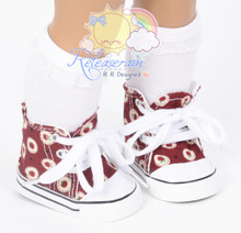 """Cons Canvas Sneakers Shoes Boots Apples Wine Red for 18"""" American Girl Dolls"""