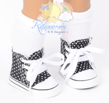 """Cons Canvas Sneakers Shoes Boots Black/Polka Dots for 18"""" American Girl Dolls"""