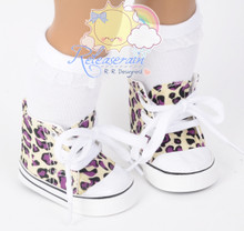 "Cons Sneakers Shoes Boots Cream Ivory/Purple Leopard for 18"" American Girl Dolls"