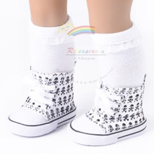 "Cons Canvas Sneakers Shoes Boots Skull White for 18"" American Girl Dolls"