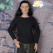 "Doll Clothes Round Neck Long Sleeves Black Grey Knit Tee Shirt Top for 17"" Tonner Male Dolls with 17"" Matt O'Neill body Dolls"