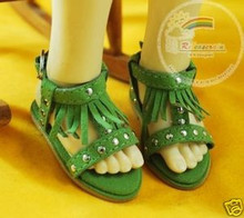 Dollfie MSD Shoes Suede Fringe T-Strap Sandals Green
