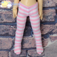 Stretch Knit Pantyhose Stockings Tights Pink White Stripes for Yo-SD Littlefee BJD Dollfie Dolls