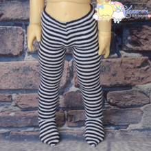 Stretch Knit Pantyhose Stockings Tights Black With White Stripes for Yo-SD Littlefee BJD Dollfie Dolls