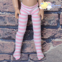 "Stretch Knit Pantyhose Stockings Tights Pink White Stripes for 12"" Kish Bethany Dolls"