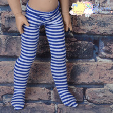 "Stretch Knit Pantyhose Stockings Tights Navy Blue with White Stripes for 12"" Kish Bethany Dolls"