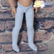 "Stretch Knit Pantyhose Stockings Tights Pale Blue With White Stripes for 12"" Kish Bethany Dolls"