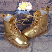 "Martin Stitch Shoes Boots Gold for MSD BJD Dollfie Kaye Wiggs 16"" Sasha Dolls"
