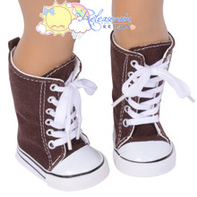 "Doll Shoes Knee High Lace-Up Sneakers Boots Chocolate Brown for 18"" American Girl"