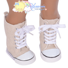"Doll Shoes Knee High Lace-Up Sneakers Boots Oatmeal Hemp for 18"" American Girl"