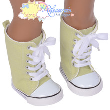 "Doll Shoes Knee High Lace-Up Sneakers Boots Lime Green for 18"" American Girl"
