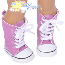 "Doll Shoes Knee High Lace-Up Sneakers Boots Lavender Purple for 18"" American Girl"