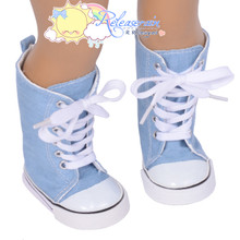 "Doll Shoes Knee High Lace-Up Sneakers Boots Pale Blue Denim for 18"" American Girl"