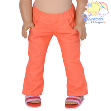 "Doll Clothes Elastic Waist Orange Denim Jeans Trousers for 18"" American Girl Dolls"