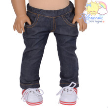 "Doll Clothes Elastic Waist Dark Blue Denim Jeans Trousers for 18"" American Girl Dolls"