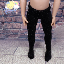 """Releaserain Doll Clothes Velvet Stretch Pantyhose Stockings Tights Black with White Tiny Dots for 14"""" Kish Dolls"""