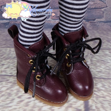 """Doll Shoes Martin Lace-Up Stitching Boots Burgundy for Yo-SD BJD Dollfie, Littlefee, 12"""" Kish Dolls"""