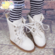 """Doll Shoes Martin Lace-Up Stitching Boots Milky White for Yo-SD BJD Dollfie, Littlefee, 12"""" Kish Dolls"""