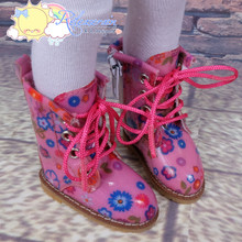 """Doll Shoes Martin Lace-Up Stitching Boots Flowers Pink for Yo-SD BJD Dollfie, Littlefee, 12"""" Kish dolls"""