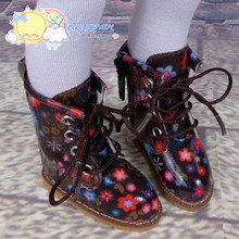 """Doll Shoes Martin Lace-Up Stitching Boots Flowers Chocolate Brown for Yo-SD BJD Dollfie, Littlefee, 12"""" Kish dolls"""