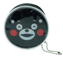 Kumamon Bear Smiling Face with Open Mouth and Smiling Eyes Emoji Round Shape Plastic Coin Purse Pouch Wallet Cash Bag Keychain Japan Import