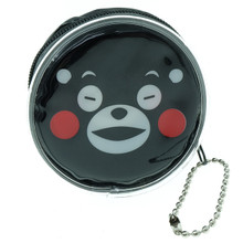 Kumamon Bear Close Eyes with Open Smiling Mouth Emoji Round Shape Plastic Coin Purse Pouch Wallet Cash Bag Keychain Japan Import