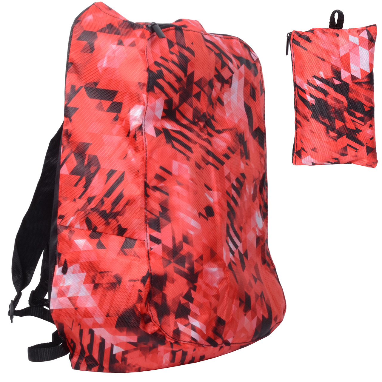 Releaserain Ultra Lightweight Handy Waterproof Red Black Mosaic Folding  Backpack Daypack with Zipped Pouch 14L Packable Foldable Portable Bag for  Camping ... 4e79e1ecfb