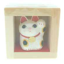 Onao Handmade Hand Painted Washi Paper Art Craft Beckoning Maneki Neko Lucky Cat Left Hand Up Mascot Statue Figurine Miniature in Fuku Masu Wooden Japanese Happiness Box Japan Import Made in Japan