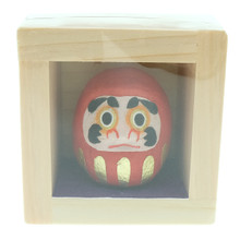 Onao Handmade Hand Painted Washi Paper Art Craft Red Daruma Lucky Doll Dharma Mascot Statue Figurine Miniature in Fuku Masu Wooden Japanese Happiness Box Japan Import Made in Japan