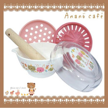 Anano Café Japanese Cute Animal Pink Baby Food Kitchenware Practical Food Mill Grinding Bowl Grinder Feeding Cooking Set Homemade Puree Maker Japan Import Made in Japan