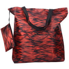 Releaserain Lightweight Handy Waterproof Red Black Bamboo Forest 17 Inch Folding Shopper Tote Bag Foldable Packable Portable Handbag with Zipped Pouch for Shopping Outdoor Beach Gym Carry On Travel