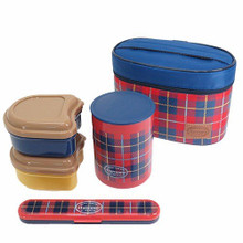 Skater Japanese Ultra Lightweight Plaid Stainless Thermal Bento Lunch Box Set 560ml (3 Food Containers, Carrying Bag, Fork) Happy One Day Harmony My Life Style Japan Import